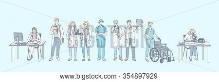 Healthcare, Research, Medicine, Doctor Set Concept. Group Of Young Doctors, Men And Women, Healthcar