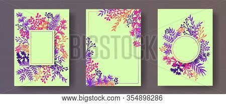 Cute Herb Twigs, Tree Branches, Flowers Floral Invitation Cards Templates. Herbal Frames Creative In