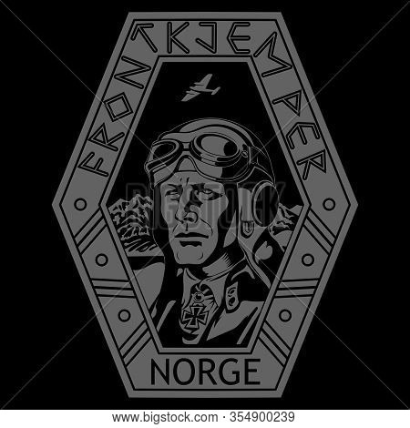 Vintage Image Of A World War Ii Pilot. Pilot Of The Norwegian Armed Forces. Norwegian Inscriptions F