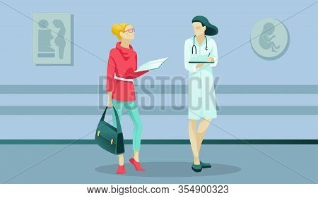 Woman And Doctor Characters In Maternity Clinic Hallway. Businesswoman Receiving Unexpected News Abo
