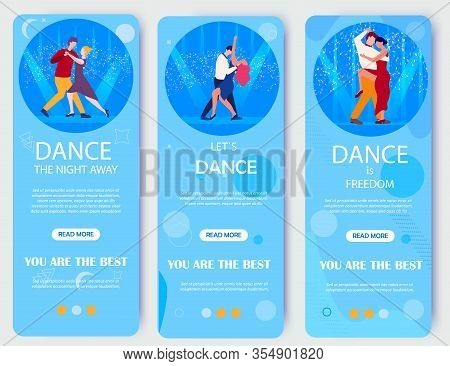 Lets Dance Night Away Banner. Dancing School Classes Advertisement. Nightclub Party Flyer Template W