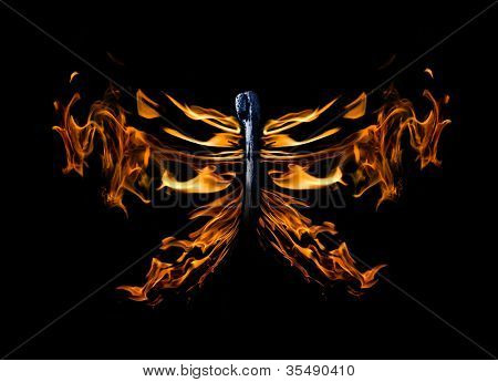 butterfly shape flame on match isolated on black background poster