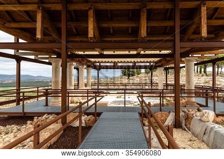 Canaveruelas, Spain - February 29, 2020: Ercavica Roman City Archaeological Site. Ercavica Was An Im