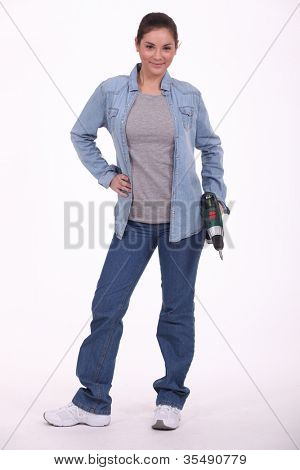 Woman holding power drill