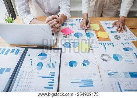Two Business Colleague Meeting To Brainstorm The New Project Business Strategy Plan And Analysis Dat