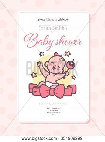 Baby Shower Card / Invitation / Poster Design Template With Cute Baby Girl Infant Sit With Rattle To
