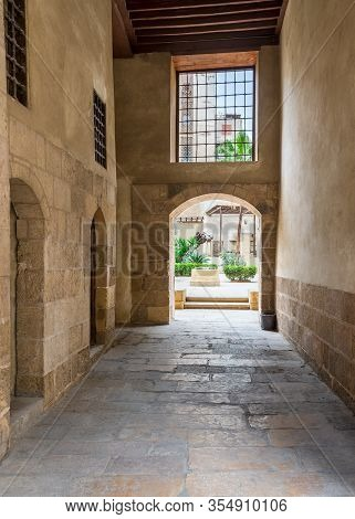 Stone Bricks Passage Leading To The Courtyard Of Historic Beit El Sehemy House Located In Moez Stree