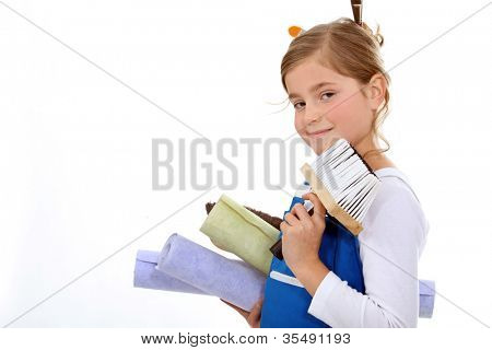 Woman wallpapering