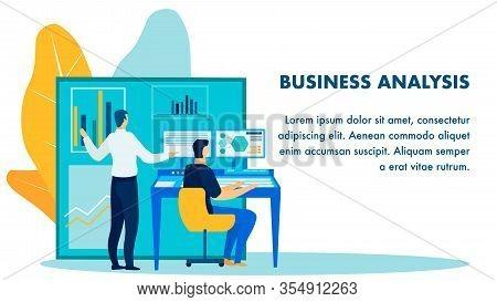 Business Analysis Report Flat Banner Template. Cartoon Finance Experts, Economists, Accountants Prep