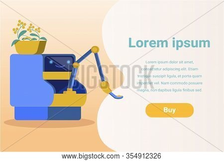 Banner Advertising Robotic Household Assistant. Cartoon Robot With Houseplant In Pot. Flat Cyborg Ho