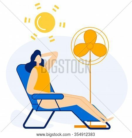 Advertising Flyer Cooling Under Fan Cartoon. Banner Body Reaction To Any Environmental Factors. Woma