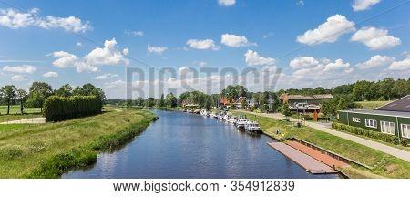Panorama Of The Hoogeveense Vaart Canal In Drenthe, Netherlands