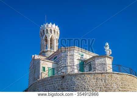 Lighthouse In The Piran Town On Adriatic Sea, One Of Major Tourist Attractions In Slovenia, Europe.