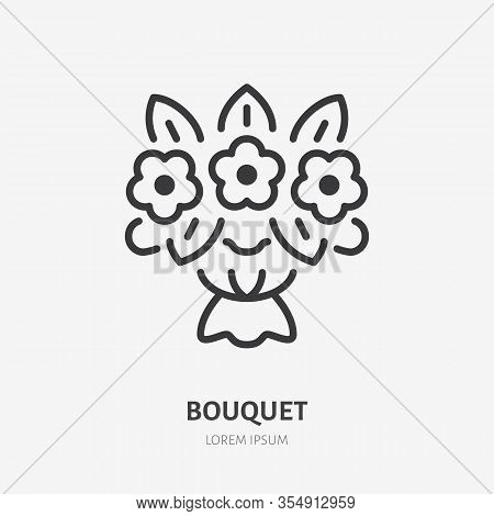 Flower Bouquet Line Icon, Vector Pictogram Of Floral Composition. Gift Illustration, Sign For Flower