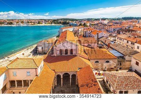 Historic Center Of Porec Town In Croatia. Top View From The Euphrasian Basilica.