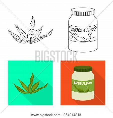 Vector Design Of Protein And Sea Sign. Set Of Protein And Natural Stock Vector Illustration.