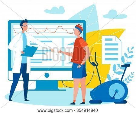 Doctor Welcoming Patient To Analyse Indicators On Computer Screen Flat Cartoon Vector Illustration.