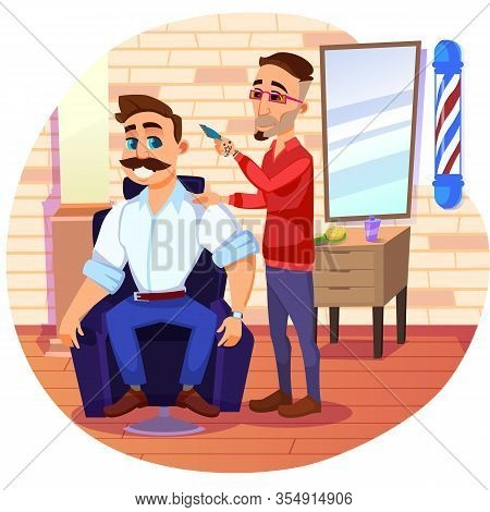 Creative Barber, Giving Fresh And Clean Haircut To Confident, Massive Man, Blooming With Health, Hea