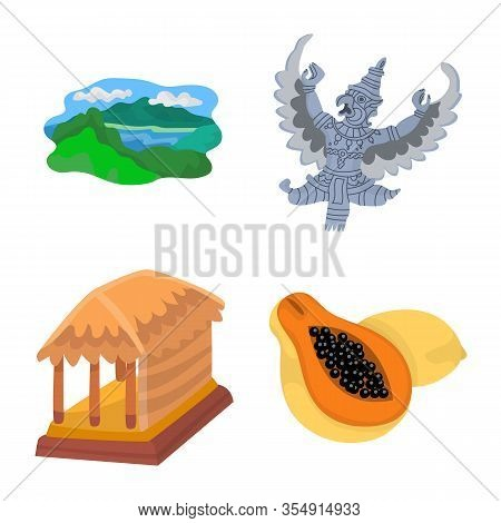 Vector Illustration Of Bali And Indonesia Logo. Collection Of Bali And Caribbean Vector Icon For Sto