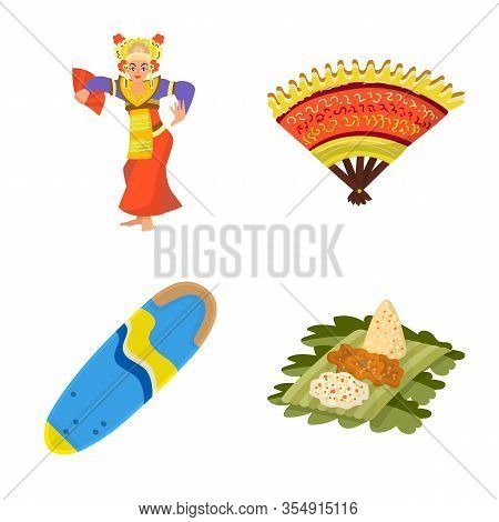 Isolated Object Of Bali And Indonesia Symbol. Collection Of Bali And Caribbean Stock Vector Illustra