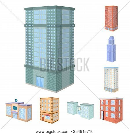 Isolated Object Of City And Build Sign. Set Of City And Apartment Stock Symbol For Web.