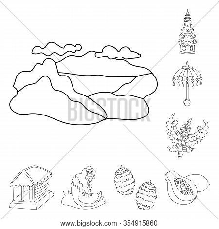 Vector Design Of Balinese And Caribbean Sign. Set Of Balinese And Geography Stock Symbol For Web.
