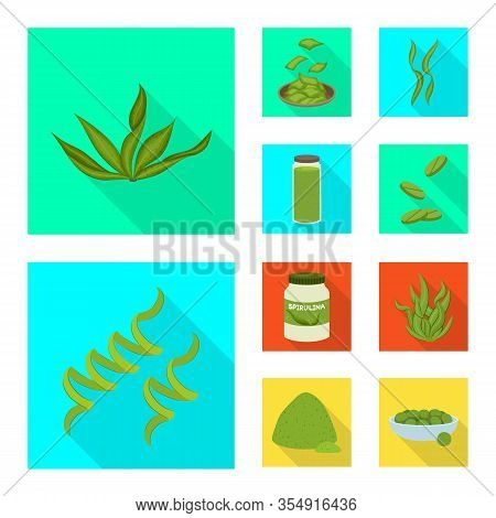 Vector Illustration Of Protein And Sea Icon. Set Of Protein And Natural Stock Symbol For Web.
