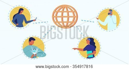 Vector Metaphor Earth Globe Planet. Connected People Via Digital Technological Devices. Cartoon Peop