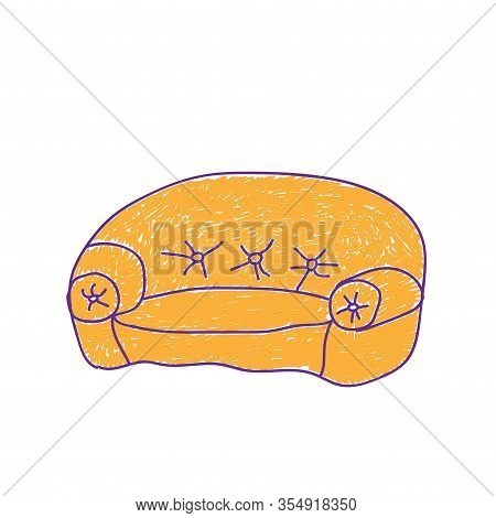 Childrens Sofa Orange In A Deliberately Childish Style. Child Drawing. Sketch Imitation Painting Fel