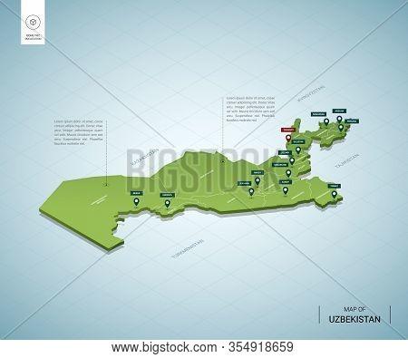 Stylized Map Of Uzbekistan. Isometric 3d Green Map With Cities, Borders, Capital Tashkent, Regions.