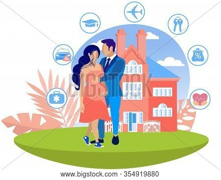 Man Hugs Pregnant Woman On Big Red House Background. Insurance Policy. Vector Illustration. Reliable