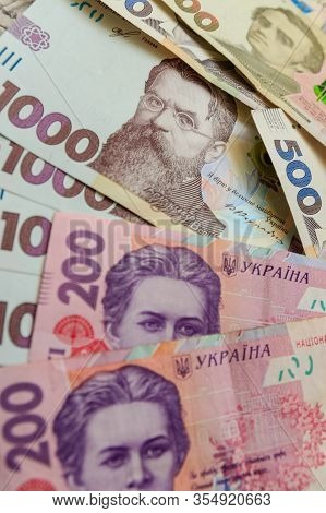 Ukrainian Hryvnia, Several Banknotes Of 1000, 500 And 200 Hryvnias. Financial Background From Ukrain