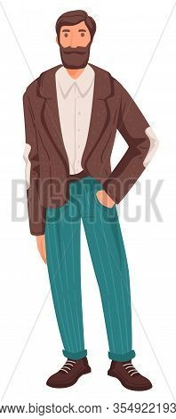 Mature Man In Smart Outfit With Beard, Adult Person, Life Stage