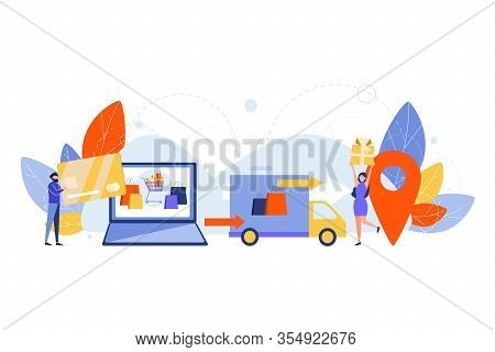 Purchase Delivery, Online Shopping Concept. Process Of Online Purchasing. Making Order Delivery Logi