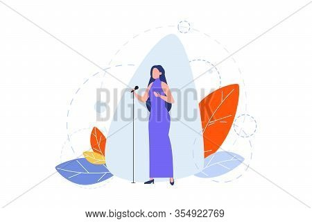 Singing, Hobby, Creative Occupation Concept. Illustration Of Woman Girl Singer, Celebrity Star With