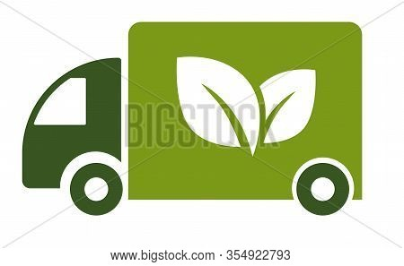 Green Truck, Isolated Icon, Eco Fuel, Electric Van