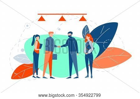Business Meeting, Agreement, Negotiation, Partnership Concept. Teams Of Businesspeople Business Men