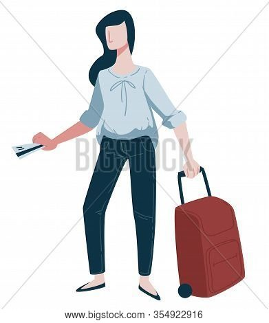 Traveling, Woman Traveler With Boarding Pass And Baggage Or Suitcase