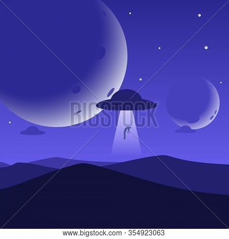 Minimalist Mountain Landscape Background, Ufo Abducts A Man, Planets Or Moons In The Night Sky. Abst