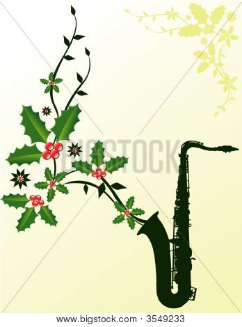 Christmas Sax With Holly