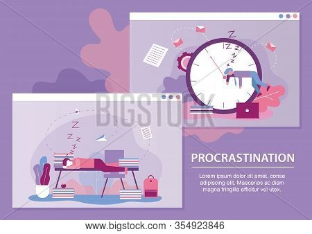Procrastination Metaphor Text Cartoon Banner Set. Lazy Or Tired Businessmen Characters Sleep On Cloc