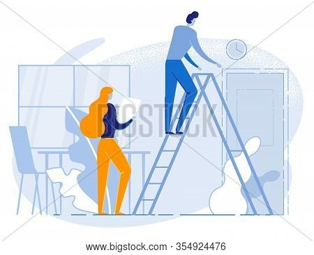 Cartoon People Characters In Office And Daily Routine. Man Standing On Ladder Checking Clock. Woman