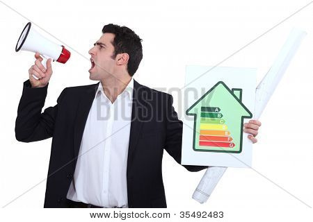 Engineer holding an energy efficiency rating sign and yelling into a blowhorn