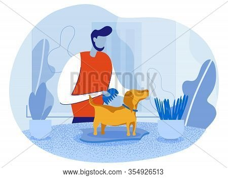 Cartoon Happy Pet Owner Male Character Combing Dog. Man Carrying For Domestic Animal Hygiene. Sparkl