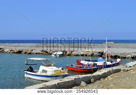 Gouves, Crete, Greece - June 3, 2019 : Boat In Gouves Old Harbour In Crete The Largest And Most Popu