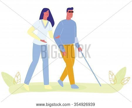 Woman Nurse Assisting Blind Man Vector Illustration. Blindness Person Walk With Cane. Vision Loss, V