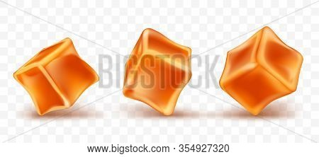 Caramel Cubes Toffee Set Isolated On Transparent Background