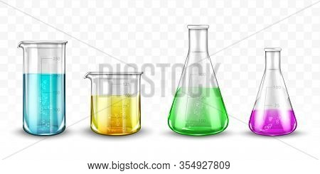 Laboratory Glassware With Colorful Liquids On Transparent Background
