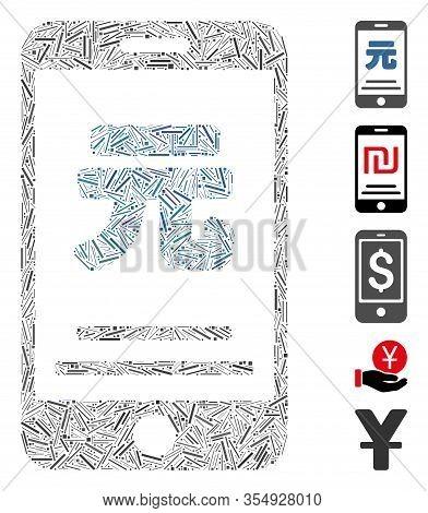 Dash Mosaic Based On Yuan Mobile Payment Icon. Mosaic Vector Yuan Mobile Payment Is Created With Ran