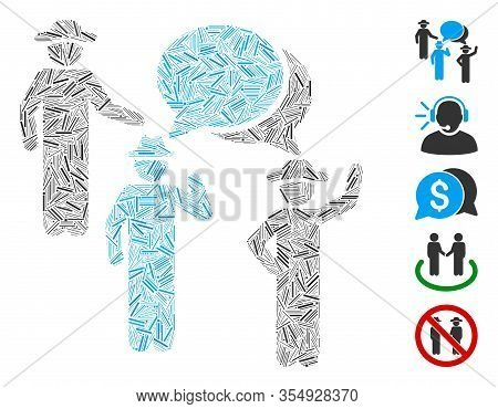 Line Mosaic Based On Gentlemen Discussion Icon. Mosaic Vector Gentlemen Discussion Is Designed With